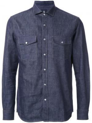 Джинсовая рубашка с нагрудными карманами Kent & Curwen. Цвет: синий