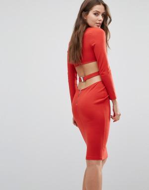 Bec & Bridge Платье с длинными рукавами Trixie. Цвет: красный