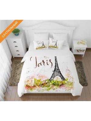 Постельное белье 2-спальное, Кпб Открытка из Парижа Сирень. Цвет: белый, светло-зеленый, черный