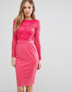 City Goddess Платье-футляр средней длины с длинными рукавами и кружевом Goddes. Цвет: розовый