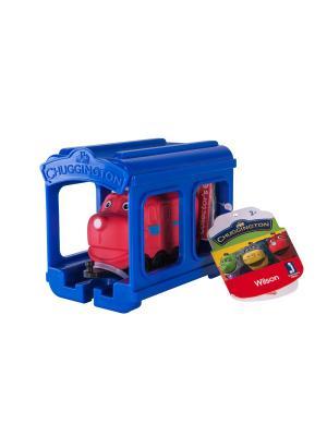 Набор Паровозик Уилсон с гаражом Chuggington. Цвет: синий, красный