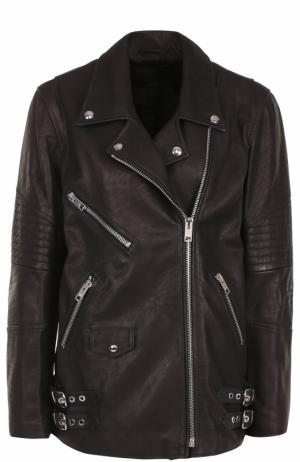 Кожаная куртка прямого кроя с косой молнией Alexander Wang. Цвет: черный