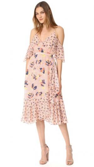Платье Amylia из текстурированного шелка с абстрактным цветочным принтом Tanya Taylor. Цвет: розовый микс