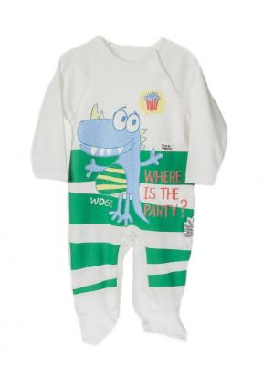 Комбинезон для малышей WO&GO. Цвет: белый, зеленый