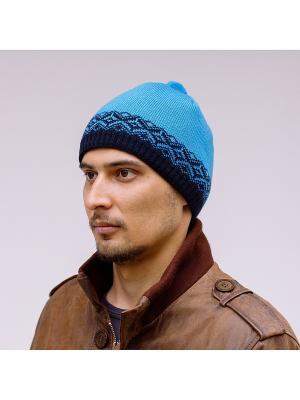 Шапка COOMPOL. Цвет: темно-синий, бирюзовый