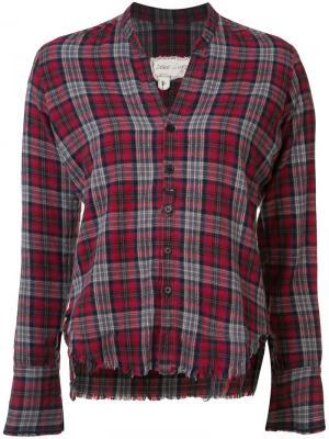 Укороченная рубашка в клетку Greg Lauren. Цвет: красный