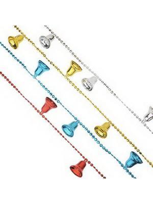 Бусы декоративные с колокольчиками, 200см, пластик, 4 цвета, VB4, VR1, VG2, VS штуки СНОУБУМ. Цвет: красный, золотистый, синий