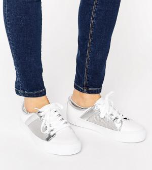 ASOS Сетчатые кроссовки для широкой стопы DANI. Цвет: белый