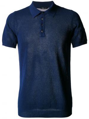 Сетчатая футболка-поло Roberto Collina. Цвет: синий