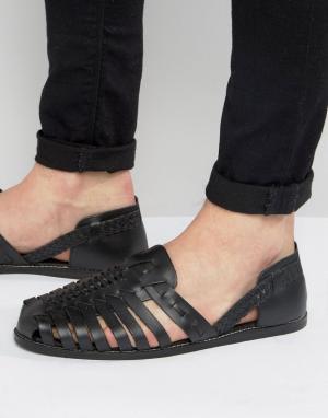 ASOS Черные кожаные сандалии с плетеным дизайном. Цвет: черный
