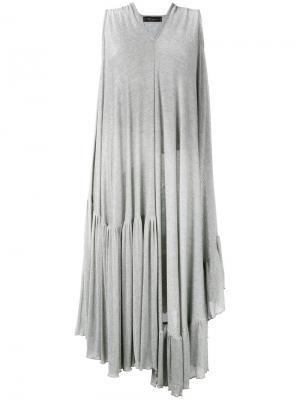 Платье металлик с драпировкой Area Di Barbara Bologna. Цвет: серый
