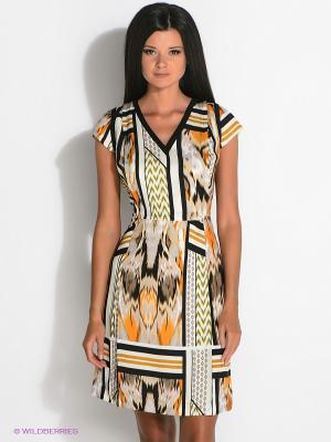 Платье ZENDRA. Цвет: бежевый, молочный, оранжевый, черный