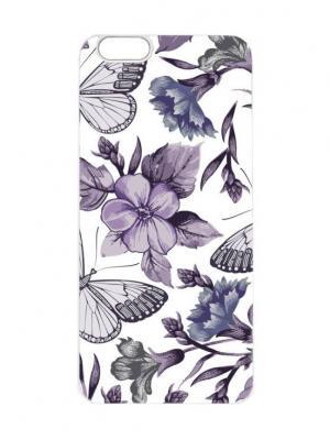 Чехол для iPhone 6Plus Фиолетовые бабочки Арт. 6Plus-079 Chocopony. Цвет: белый, фиолетовый, черный