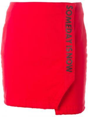 Юбка прямого кроя с запахом Steve J & Yoni P. Цвет: красный