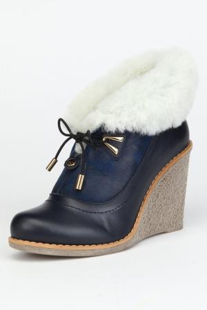 Ботинки утепленные, байка OSSO. Цвет: синий, кожа