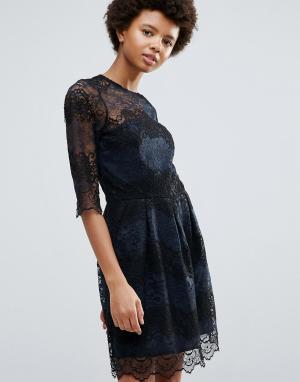 Ganni Кружевное платье колор блок Parker. Цвет: темно-синий
