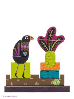 Игрушка развивающая - пазл вертикальный Павлин Oops. Цвет: белый, салатовый, коричневый, фиолетовый, оранжевый