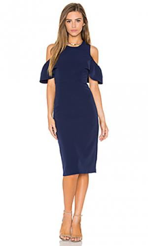 Платье миди jessie Bardot. Цвет: синий