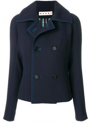 Пальто с контрастной строчкой Marni. Цвет: синий