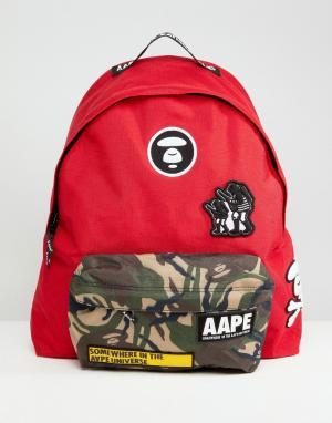AAPE BY A BATHING APE Красный рюкзак с камуфляжным карманом. Цвет: красный