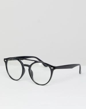 Jeepers Peepers Круглые очки с прозрачными стеклами и двойной планкой сверху P. Цвет: черный