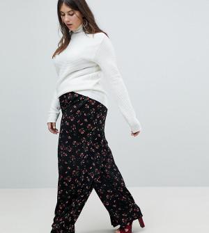 Glamorous Curve Брюки с широкими штанинами и цветочным принтом. Цвет: черный