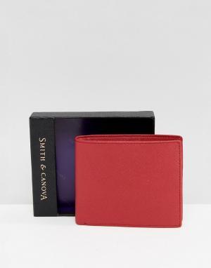 Smith And Canova Красный кожаный бумажник. Цвет: красный