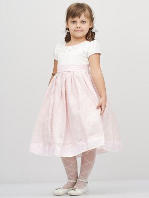 Платье Baby Moses. Цвет: бледно-розовый, белый