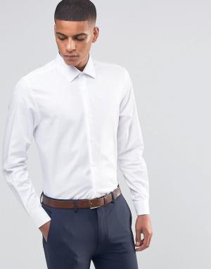 Number Eight Savile Row Строгая рубашка скинни в елочку. Цвет: белый