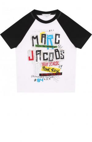 Хлопковая футболка с принтом Marc Jacobs. Цвет: белый