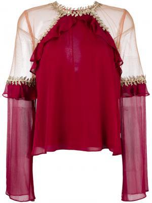 Блузка с прозрачными панелями For Love And Lemons. Цвет: красный