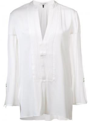 Блузка с нагрудником Halston Heritage. Цвет: белый