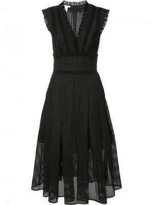 Расклешенное платье с плиссировкой Oscar de la Renta. Цвет: чёрный