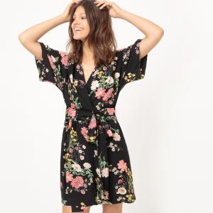 Платье короткое в стиле кимоно MADEMOISELLE R. Цвет: рисунок черный