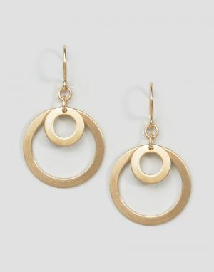 Pilgrim Золотистые серьги-подвески с двойными кольцами. Цвет: золотой