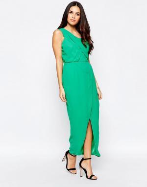 VLabel London Платье на одно плечо с разрезом Herne. Цвет: зеленый