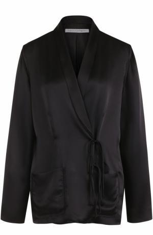 Шелковый жакет с накладными карманами Raquel Allegra. Цвет: черный