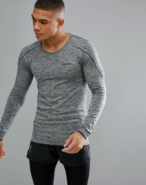 Craft Серый трикотажный лонгслив для бега Sportswear Active Comfort 19. Цвет: черный