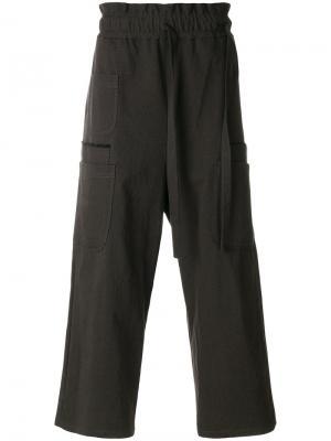 Широкие брюки  с завязками на поясе Damir Doma. Цвет: зелёный