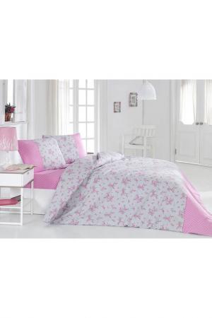 Комплект постельного белья U.S. Polo Assn.. Цвет: pink and white