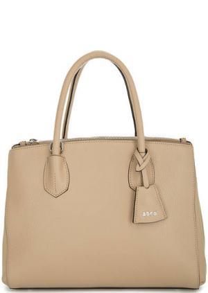 Бежевая сумка из натуральной кожи Abro. Цвет: бежевый