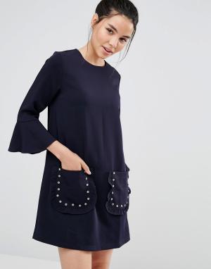 Sister jane Цельнокройное платье с оборками на рукавах. Цвет: темно-синий