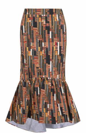 Хлопковая юбка-годе с принтом Stella Jean. Цвет: разноцветный