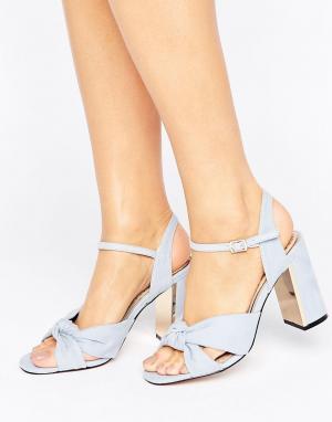 Miss KG Босоножки на каблуке с узелками Grace. Цвет: синий