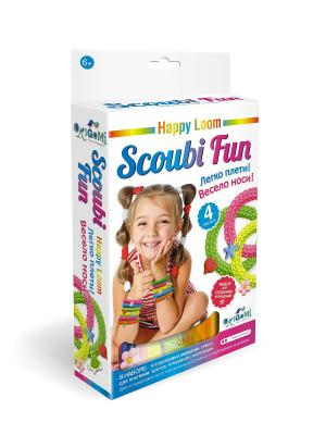 Scoubi Fun. Набор для плетения браслетов в коробке. Happy Loom. Цвет: зеленый, желтый, розовый