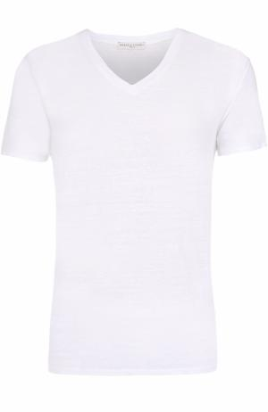 Льняная футболка с V-образным вырезом Daniele Fiesoli. Цвет: белый