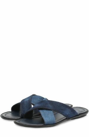 Кожаные шлепанцы с отделкой из денима Doucals Doucal's. Цвет: синий