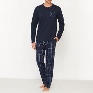 Пижама с длинными рукавами и брюками в клетку La Redoute Collections. Цвет: темно-синий/в клетку