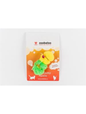 Игрушка для животных плюшевый мяч с бубенчиком (2шт) (с кошачьей мятой) Zoobaloo. Цвет: зеленый
