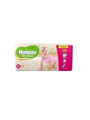 Подгузники Ultra Comfort Размер 4+ 10-16кг 60шт для девочек HUGGIES. Цвет: розовый